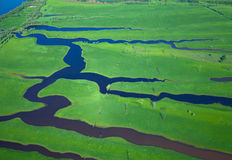 Aerial view over the small river Royalty Free Stock Photo