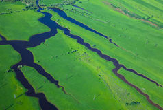 Aerial view over the small river Stock Photo