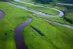 Aerial view over the small river Royalty Free Stock Images