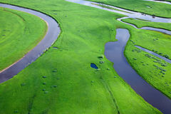 Aerial view over the small river Royalty Free Stock Photos