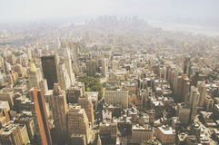 Aerial view over smoggy city Royalty Free Stock Photography