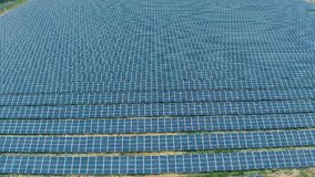Aerial View Over Solar Panel Farm stock video footage