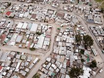 Aerial view over South African township. Aerial view over a South African township, from above stock image