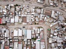Aerial view over South African township. Aerial view over a South African township, from above stock photo