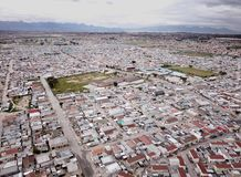 Aerial view over South African township. Aerial view over a township in South Africa royalty free stock photos
