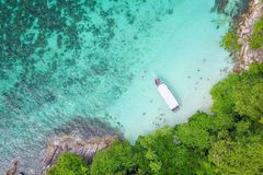 Aerial view over speed boat with beautiful sea and beach,Top vie Royalty Free Stock Photos