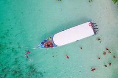 Aerial view over speed boat with beautiful sea and beach,Top vie Stock Images