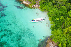 Aerial view over speed boat with beautiful sea and beach,Top vie Royalty Free Stock Image