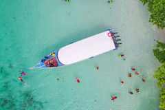 Aerial view over speed boat with beautiful sea and beach,Top vie Stock Photography