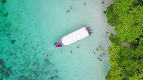 Aerial view over speed boat with beautiful sea and beach,Top vie Stock Image