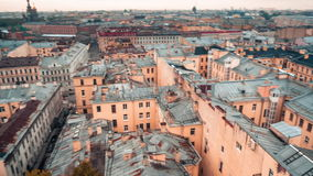 Aerial View Over St. Petersburg, Russia. Cityscape view over the rooftops of St. Petersburg, Russian Federation stock footage