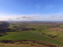 Aerial view over the Sussex countryside along the South Downs Way. Stock Images