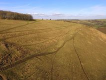 Aerial view over the Sussex countryside along the South Downs Way. Royalty Free Stock Photos