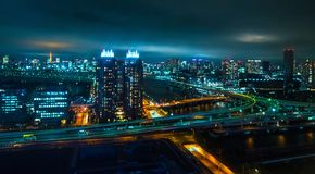 Aerial view over Tokyo by night - beautiful city lights - TOKYO, JAPAN - JUNE 12, 2018 royalty free stock images