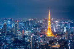 Aerial view over Tokyo tower and Tokyo cityscape Royalty Free Stock Photography