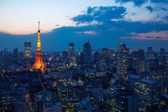 Aerial view over Tokyo tower and Tokyo cityscape at sunset Royalty Free Stock Photo