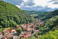 Aerial view over  town Royalty Free Stock Image