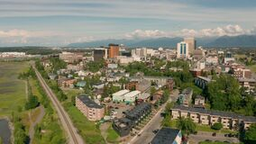 An aerial view into downtown Anchorage from a perspective over the Cook Inlet Alaska