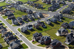 Aerial view over townhouses Royalty Free Stock Images