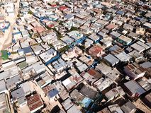 Aerial view over a township near Cape Town, South Africa. An aerial view over a township near Cape Town, South Africa royalty free stock photography