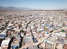 Aerial view over a township near Cape Town, South Africa. Khayelitsha stock photo
