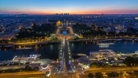 Aerial view over Trocadero day to night timelapse with the Palais de Chaillot seen from the Eiffel Tower in Paris. Aerial view over Trocadero day to night stock footage