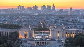Aerial view over Trocadero day to night timelapse with the Palais de Chaillot seen from the Eiffel Tower in Paris. Aerial view over Trocadero day to night stock video footage