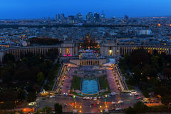 Aerial view over the Trocadero Square in Paris Royalty Free Stock Image