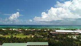 Aerial view over tropical Caribbean beach resort. Punta Cana, Dominican Republic.  stock video