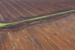 Aerial view over turf yield. View from helicopter over turf field Royalty Free Stock Photos
