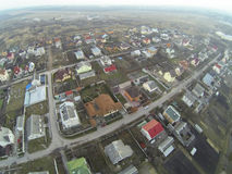 Aerial view over Ukrainian village houses Royalty Free Stock Image