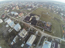 Aerial view over Ukrainian village houses Royalty Free Stock Photos