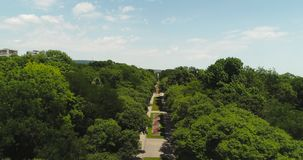 Aerial view over Varna, Bulgaria and green sea garden park in the city.  stock video footage