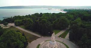 Aerial view over Varna, Bulgaria and green sea garden park in the city.  stock video