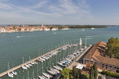 Aerial view over in Venice lagoon, Italy. Royalty Free Stock Photography