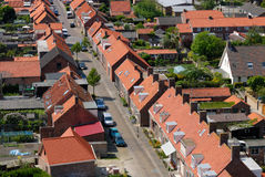 Aerial view over a village Stock Photos