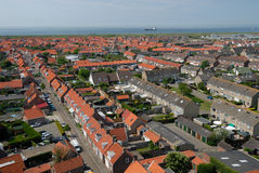 Aerial view over a village in Netherlands. Aerial view over Westkapelle, a village in Netherlands Royalty Free Stock Image