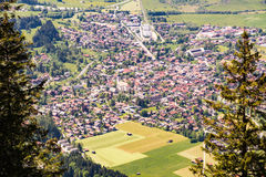 Aerial view over the village of Oberammergau Stock Photos