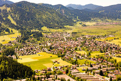 Aerial view over the village of Oberammergau Royalty Free Stock Photo
