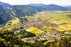 Aerial view over the village of Oberammergau Stock Images