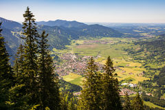 Aerial view over the village of Oberammergau Stock Photo