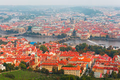 Aerial view over the Vltava River in Prague, Czech Republic Stock Images
