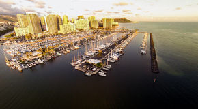 Aerial view over Waikiki and Ala Wai Boat Harbor Stock Photography