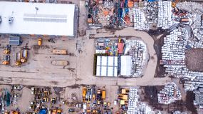 Aerial view over a workshop, factory, recycling facility, wareho Royalty Free Stock Photography