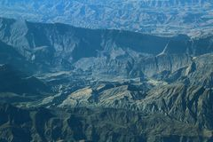 Aerial view over Zagros Mountains, Iran Royalty Free Stock Photo