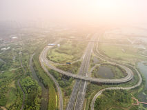 Aerial view of the overpass. China Shanghai Pudong, Zhangjiang overpass the panoramic view of modern urban traffic Stock Photography