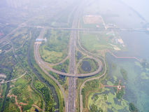 Aerial view of the overpass. China Shanghai Pudong, Zhangjiang overpass the panoramic view of modern urban traffic Stock Image