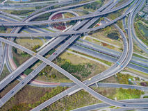 Aerial view of the overpass. China Shanghai Pudong, Zhangjiang overpass the panoramic view of modern urban traffic Royalty Free Stock Photography