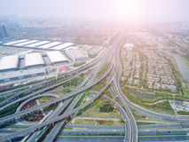 Aerial view of the overpass. China Shanghai Pudong, Zhangjiang overpass the panoramic view of modern urban traffic Royalty Free Stock Image