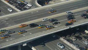 Aerial view of overpass traffic at an urban city beijing China. stock video footage